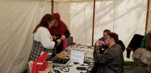THL Aesa teaching Viking wire weaving